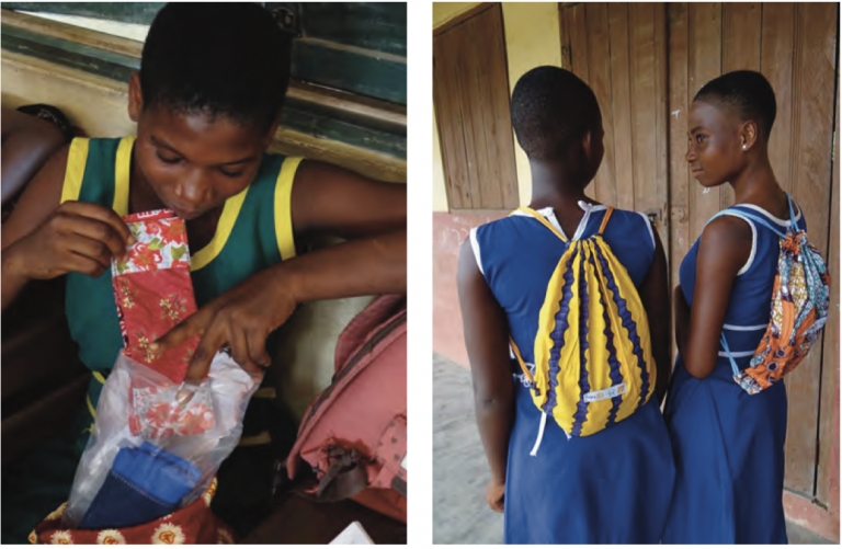 The Be in School Every Day project provides free, Ghana-made menstrual hygiene kits for junior high school girls that can last up to three years and beyond (June 2018). Photo by Mary Crave.