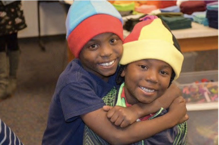 "Odyssey Explorers made winter hats with the help of the ""Hat Ladies"""