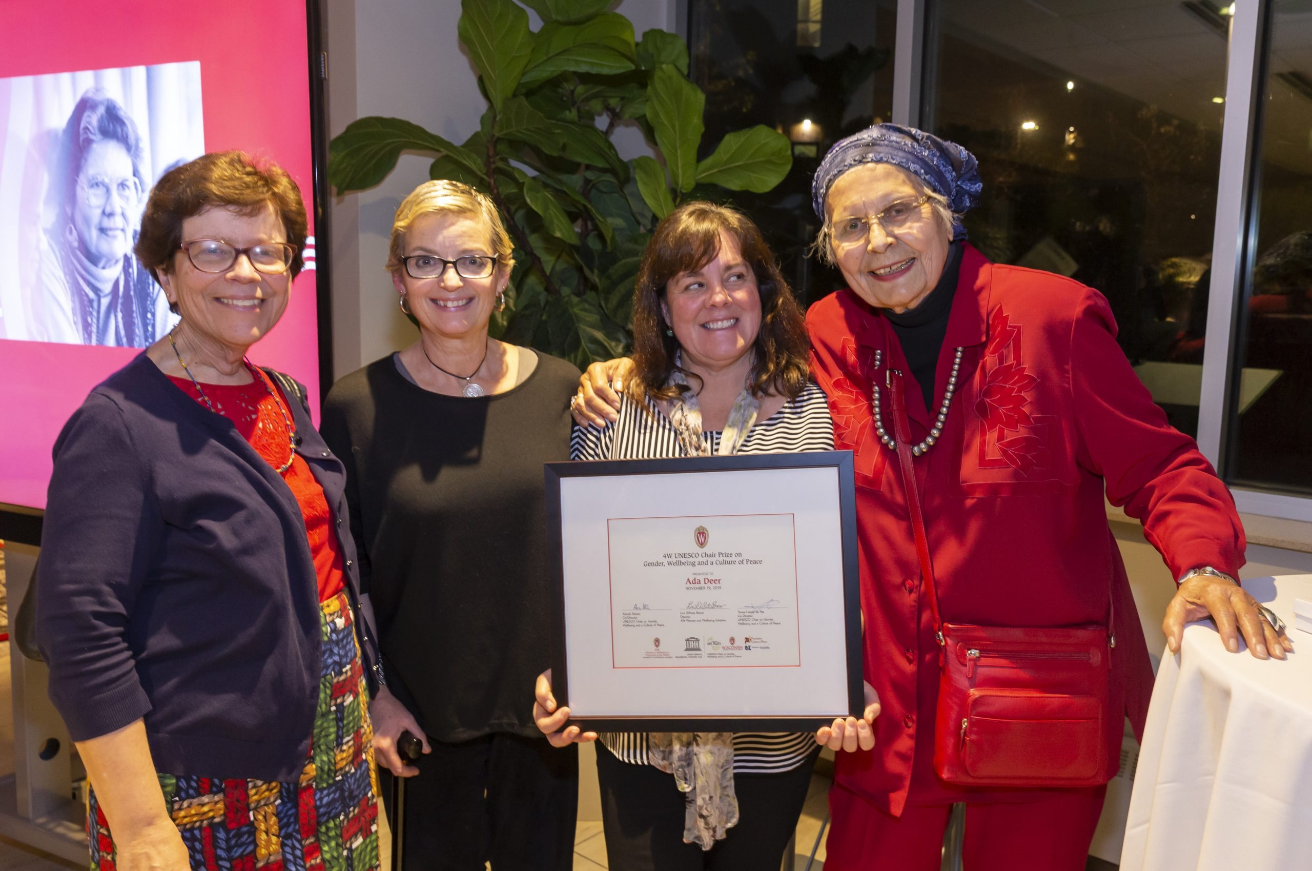 4W presents the inaugural UNESCO Chair Prize on Gender, Wellbeing, and a Culture of Peace to activist Ada Deer (November 2019).
