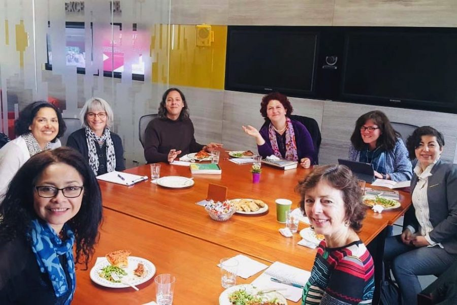 Women in Translation (WIT) Leaders sitting around a table for lunch at a translating session