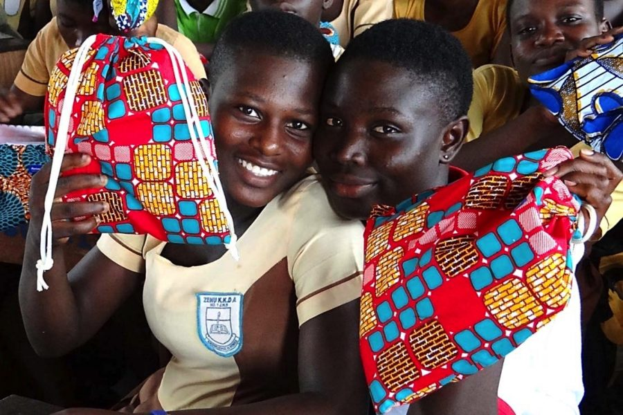 """""""Ghana: Be In School Everyday"""" participants with their reusable pads"""