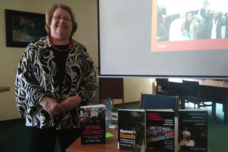 Professor Aili Tripp with some of her many publications on women and peacebuilding in Africa.