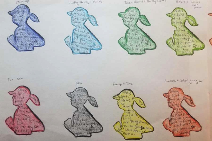 Student body map example. Different color women in a running position across the page