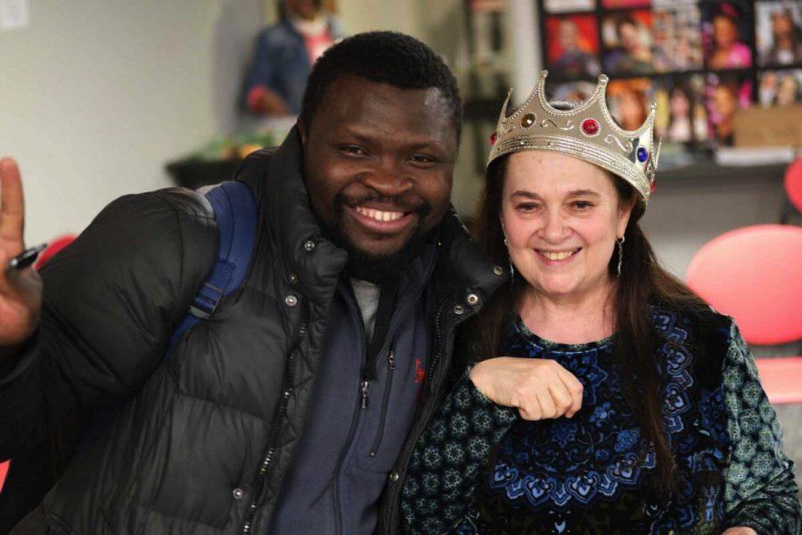 Odyssey Director Emily Auerbach with student Hezouwe Walada (September 2020). Photo by Lisa Bauer.